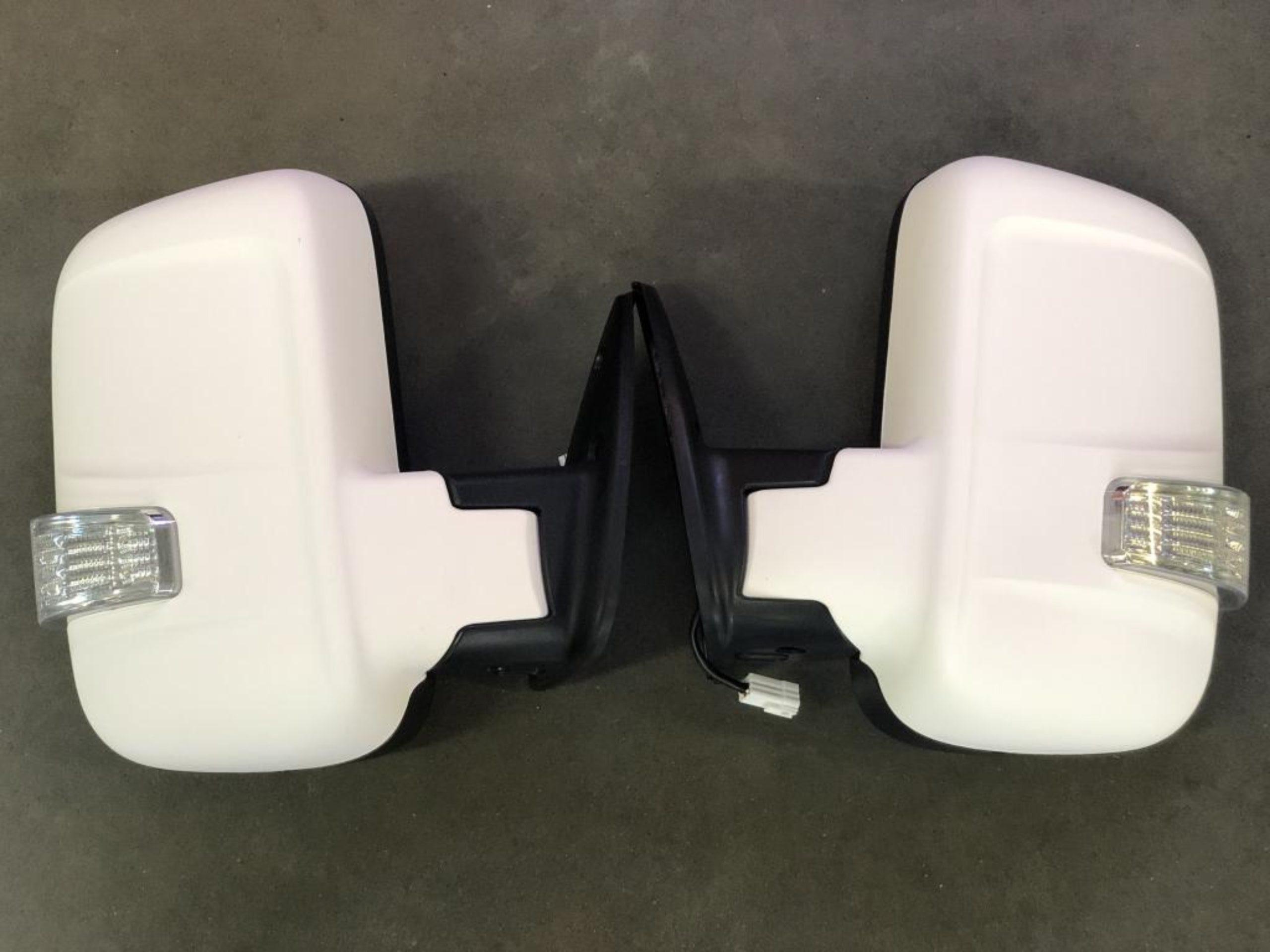 Комплект зеркал на газель Бизнес с повторителем и обогревом (с увеличенным углом обзора) белые матовые