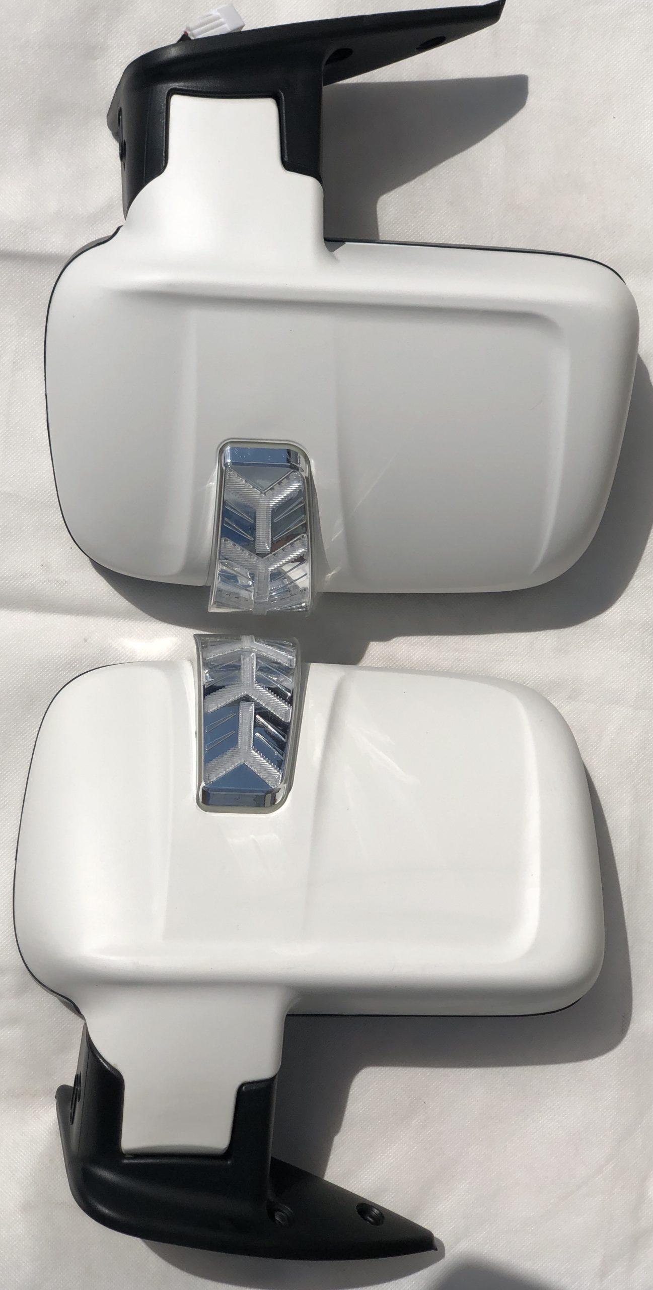 Комплект зеркал на газель Бизнес с БЕГАЮЩИМ повторителем и обогревом (с увеличенным углом обзора) БЕЛЫЙ МАТОВЫЙ